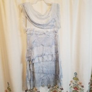Prodotto silk ruffled pale blue dress